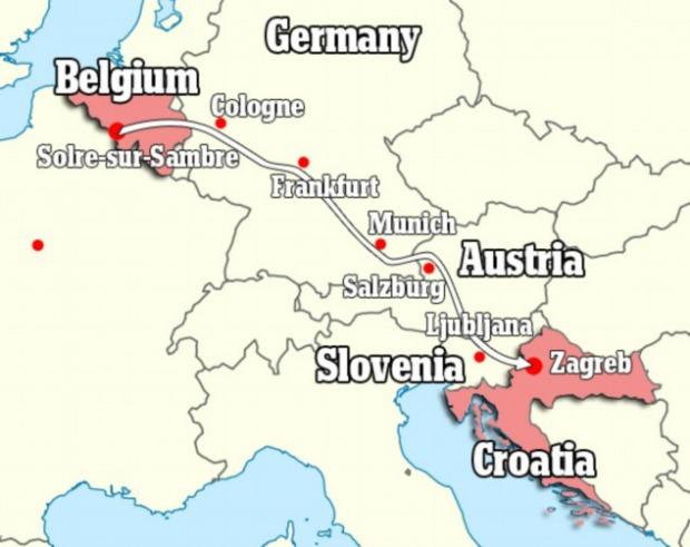 Mapa que Sabine Moreau mostra o quanto ela percorreu (Foto: Reprodução/Daily Mail)
