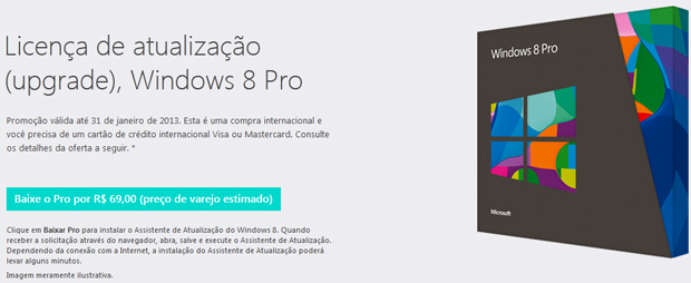 Microsoft vende Windows 8 Pro por R$ 69,90 até 31 de janeiro (Foto: Reprodução)