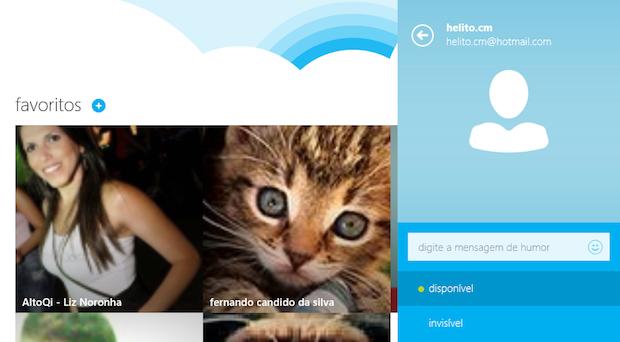 Menu permite alterar status, mensagem de humor ou foto do perfil (Foto: Reprodução/Helito Bijora)