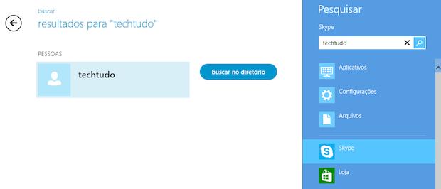 Pesquisando por pessoas no Skype (Foto: Reprodução/Helito Bijora)