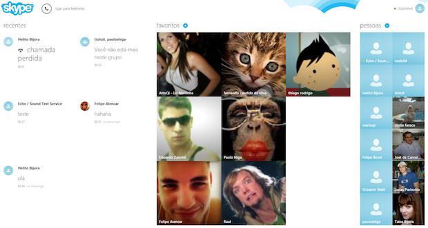 Interface principal do Skype (Foto: Reprodução/Helito Bijora)