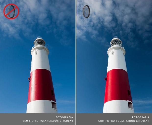 Farol com céu azul ao fundo com nuvens, fotografado sem filtro polarizador à esquerda, e com o filtro à direita (Foto: Reprodução/LEE Filters)