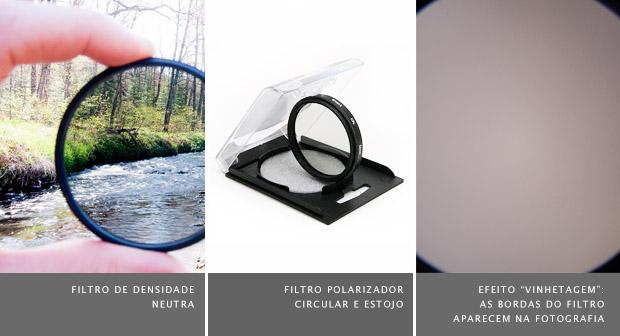 """Filtro de densidade neutra com rio ao fundo à esquerda, filtro polarizador apoiado em estojo no meio, e exemplo do efeito """"vinhetagem"""" à direita (Foto: Reprodução)"""