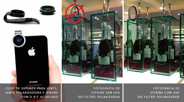 iPhone com clipe e filtro polarizador à esquerda, e comparativo entre fotografias de uma vitrine sem o filtro, no meio, e com o filtro à direita (Foto: Reprodução/Gizmon)