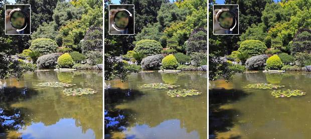Comparativo de imagens de um lago e árvores ao fundo fotografados com filtro polarizador em diferentes ângulos (Foto: Reprodução/Olivia Speranza)