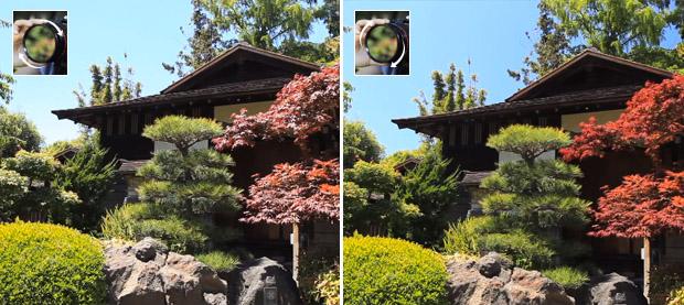Duas imagens de construção e jardim fotografados com filtro polarizador em diferentes ângulos (Foto: Reprodução/Olivia Speranza)