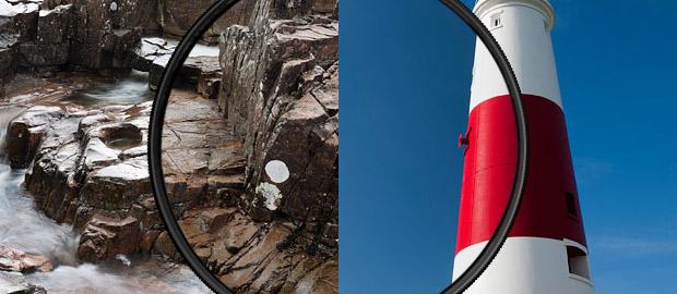 Imagem de corredeira à esquerda, e de um farol à direita, evidenciando os resultados da utilização de filtro polarizador (Foto: Reprodução/LEE Filters)fp_titulo_03
