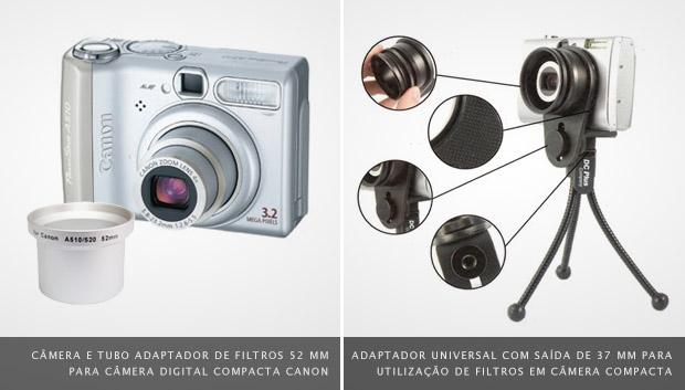 Imagem de câmera compacta e tudo adaptador para filtros à esquerda, e adaptador universal acoplado em câmera sobre tripé à direita (Foto: Reprodução)