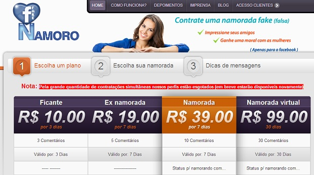 Namoro Fake oferece namoradas virtuais para usuários do Facebook (Foto: Reprodução/Namoro Fake)