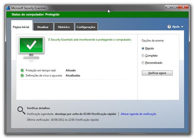 Opção gratuita da MIcrosoft deixa a desejar na hora de encontrar vírus (Foto: Reprodução)