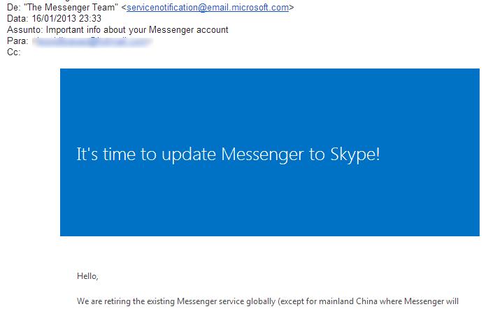 Email da Microsoft pede que usuários do Windows Live Messenger migrem para o Skype (Foto: TechTudo/Rodrigo Bastos)