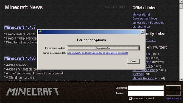 Se a atualização de Minecraft não estiver funcionando basta usar o Force update (Foto: Reprodução: Rafael Monteiro) (Foto: Reprodução)