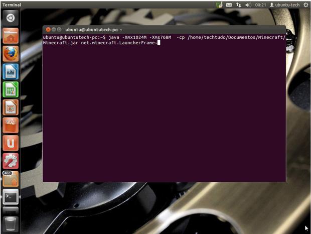 Executando o Minecraft pelo Terminal do Ubuntu (Foto: Divulgação)