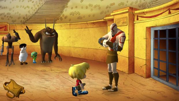 Gustavinho encontra Kratos de God of War no meio de sua aventura (Foto: Divulgação)