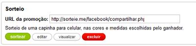 Exemplo de URL para divulgar o sorteio na fan page (Foto: Reprodução/Aline Jesus)