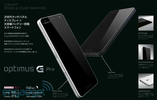 Slide vazado na Internet expõe design e especificações do Optimus G Pro (Foto: Reprodução)