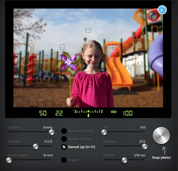 Simulador de fotografia com ajustes manuais de abertura, sensibilidade e velocidade (Foto: Reprodução/CameraSim)