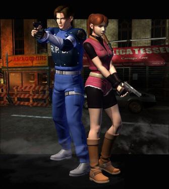 Os heróis de RE2: O policial Leon S. Kennedy e a jovem Claire Redfield (Reprodução)