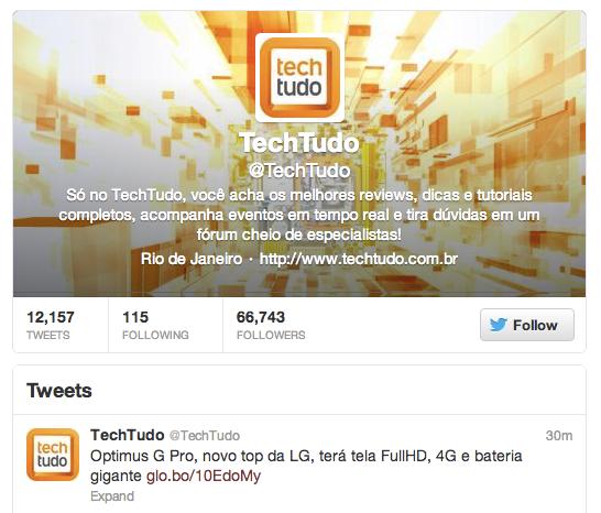 Twitter do @TechTudo (Foto: Reprodução/Twitter)
