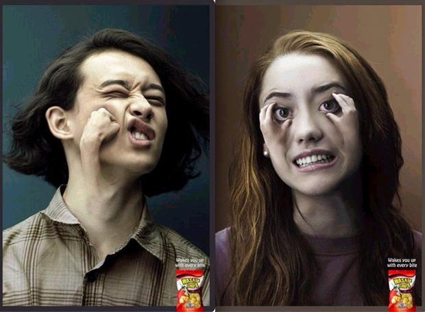 Anúncio de salgadinho tem mãos saindo de rostos (Foto: Reprodução)