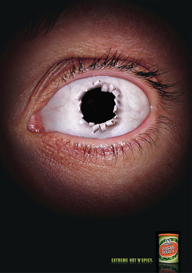 Um olho furado no anuncio de amendoim de wasabi (Foto: Reprodução)