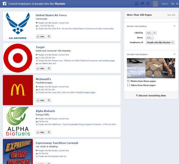 Graph Search mostra até empresas que contratam pessoas racistas (Reprodução)