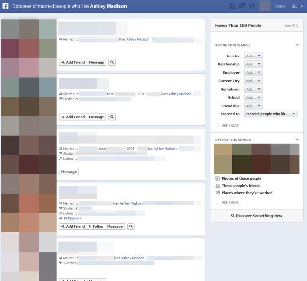Graph Search também consegue detectar homens casados que utilizam sites como Ashley Madison, para trair na internet (Reprodução)