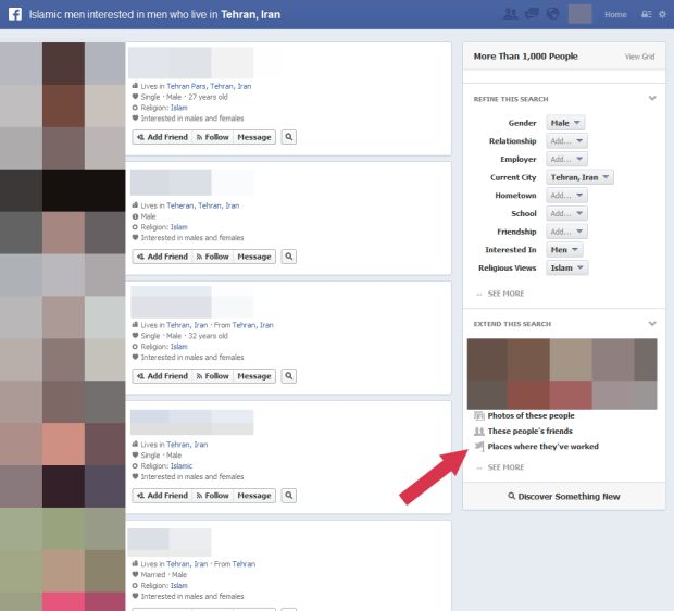 Graph Search também mostra quais iranianos homens são gays na rede social (Reprodução)
