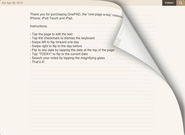 OnePAD oferece uma página de anotações por dia (Foto: Divulgação)