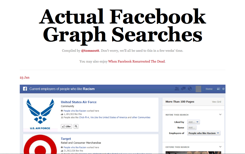 Tumblr polêmico bomba na web com buscas no Graph Search (Foto: Reprodução)