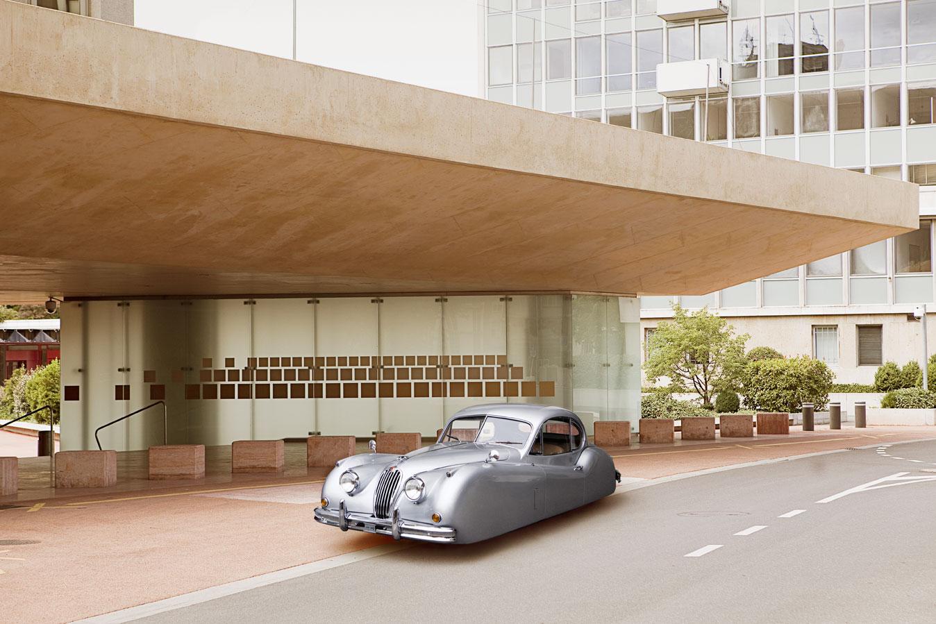 Fotógrafo imaginou o luxuoso Jaguar XK120 em versão flutuante (Foto: Divulgação /Renaud Marion)