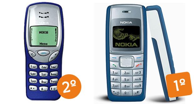 Com 9 entre os 10 celulares mais famosos do mundo, a Nokia conquistou o topo da lista com o 3210 (Foto: Arte/Divulgação)