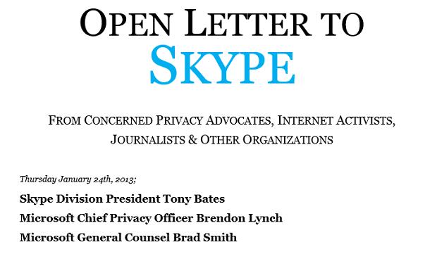 Carta ao Skype está hospedada em site na web (Foto: Reprodução OpenLetterToSkype)