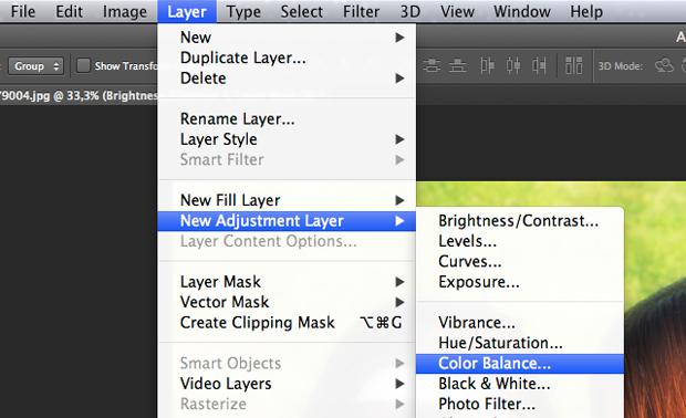 Caminho para o ajuste de Color Balance no Photoshop. (Foto: Reprodução/André Sugai)