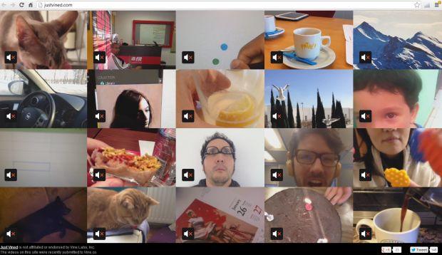 Just Vined mostra 20 vídeos simultaneamente da ferramenta Vine (Reprodução)