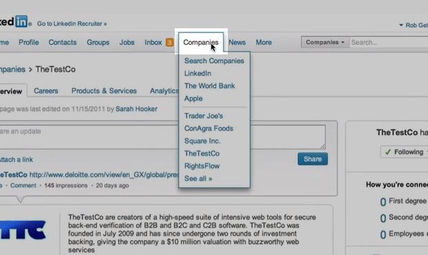 """A opção """"empresas"""" pode ser localizada na barra de menu superior (Foto: Reprodução/ LinkedIn)"""