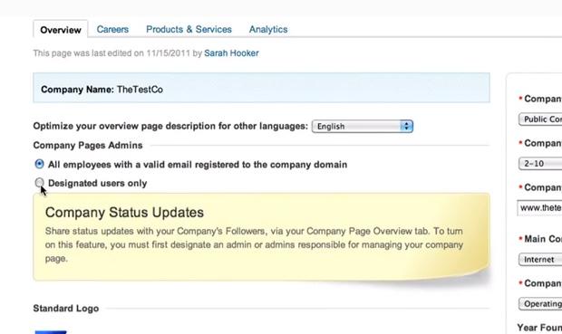 A primeira opção permite que todos os funcionários administrem a página. (Foto: Reprodução/ LinkedIn)