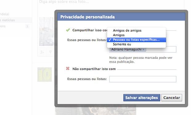 Imagem do menu para configuração de privacidade de imagem no do Facebook (Foto: Reprodução)