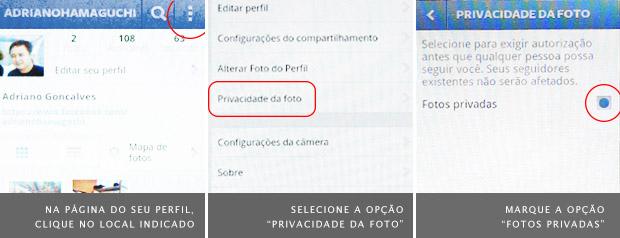 """Telas de configuração do Instagram para Android mostram como ativar o modo """"privado"""" (Foto: Reprodução)"""