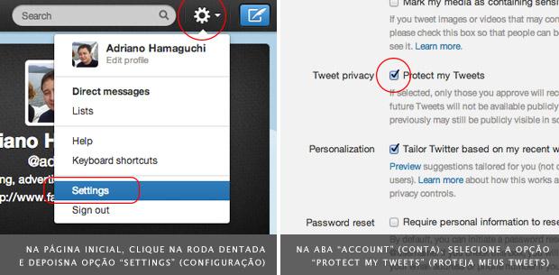 Imagem da interface de configuração do Twitter para controlar a privacidade do seu perfil (Foto: Adriano Hamaguchi)