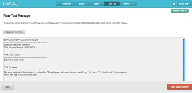Revise o texto que estará no email (Foto: Reprodução)