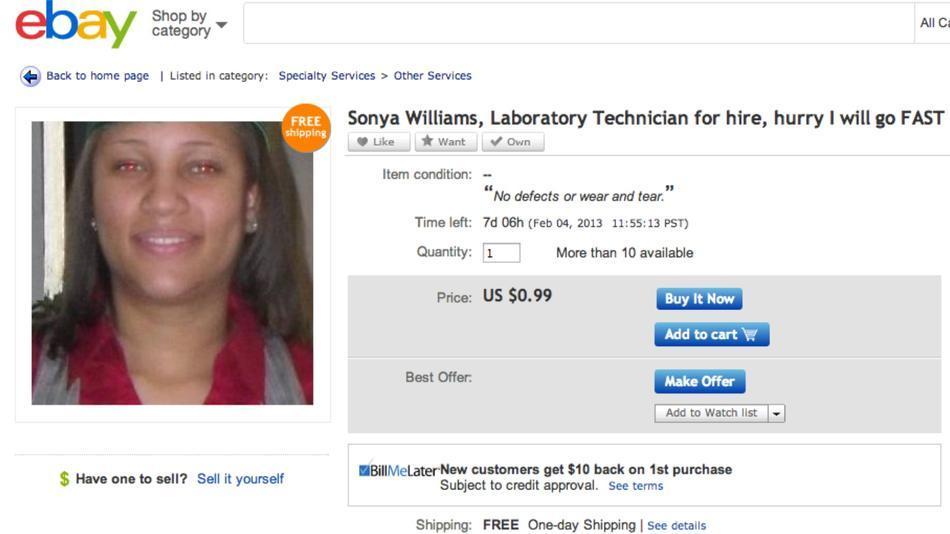 """Sonya Williams """"anunciada"""" no eBay (Foto: Reprodução/ Mashable)"""