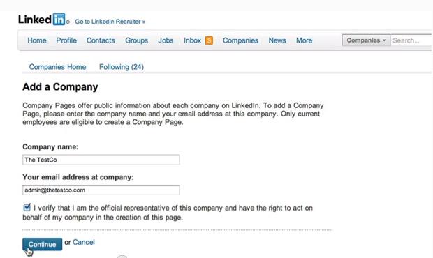 Insira o nome e o e-mail oficial da empresa (Foto: Reprodução/ LinkedIn)