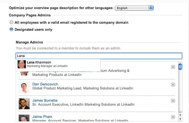Já a segunda opção, pede que você selecione os funcionários que cuidarão da página, inclusive você. (Foto: Reprodução/ LinkedIn)