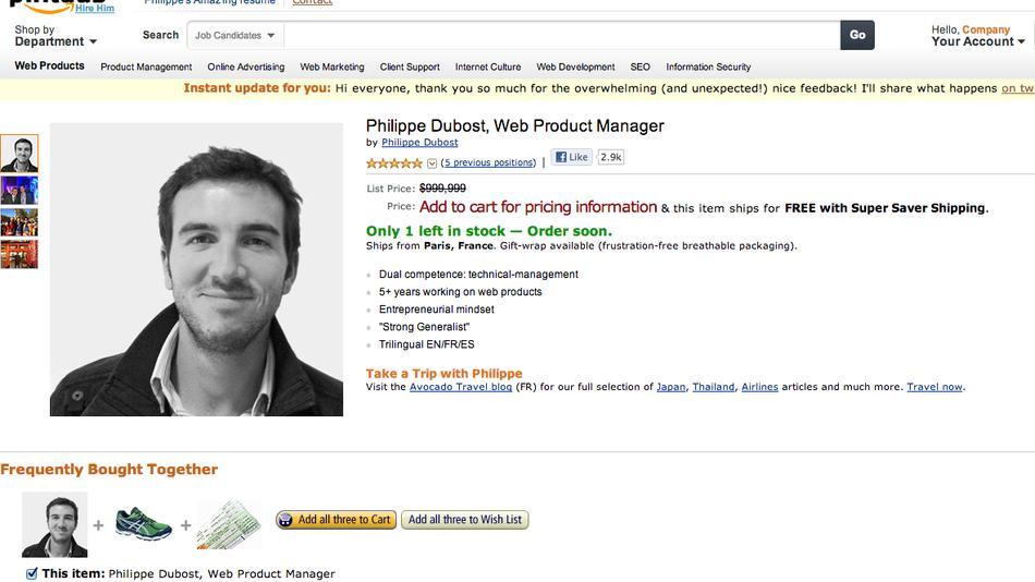 """Philippe Dubost """"ofertado"""" pela Amazon.com (Foto: Reprodução/ Mashable)"""