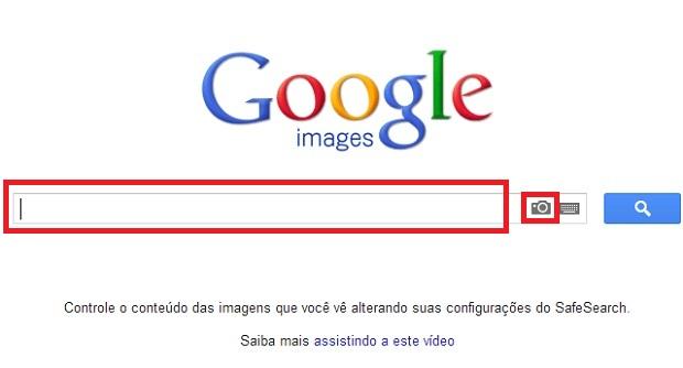 Interface da página de busca do Google, com destaque para o ícone que aciona o sistema de busca reversa por imagem (Foto: Reprodução/Júlio Monteiro)