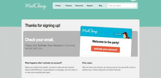Valide seu cadastro do Mailchimp na sua caixa de entrada (Foto: Reprodução)