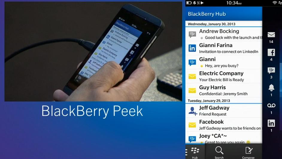 Por meio do BlackBerry Peek é possível ver o seu Hub de mensagens e notificações (Foto: Divulgação)