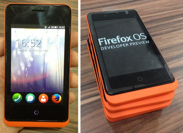 Protótipo do smartphone com Firefox OS que está sendo distribuído para desenvolvedores (Foto: Nick Ellis/TechTudo)