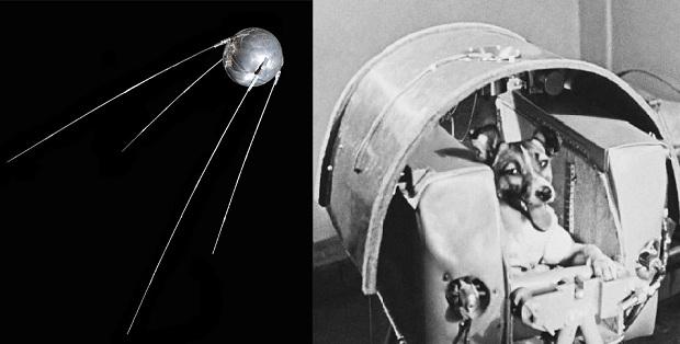 Sputnik 1 e cadela Laika (Foto: Divulgação)